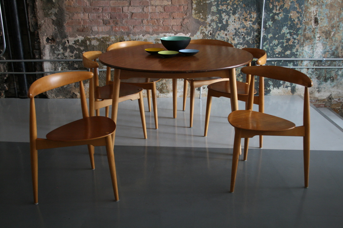 hans wegner round dining table with heart chairs 6 circa mod