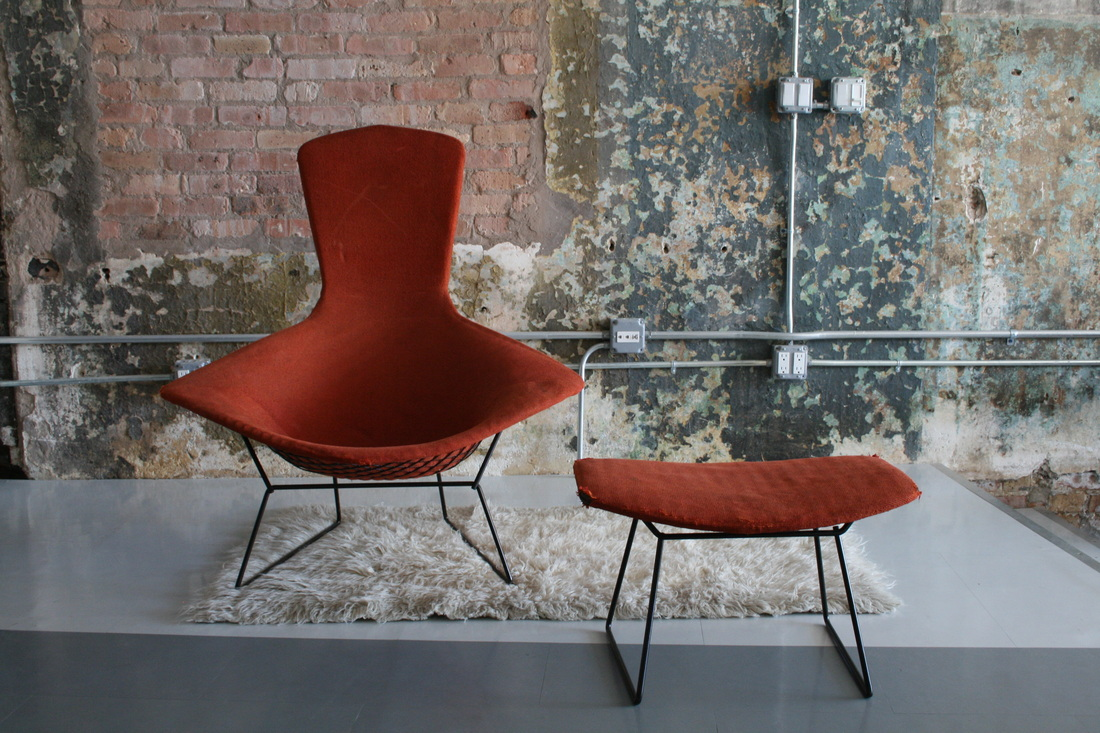 BIRD chair by Harry Bertoia for Knoll USA 1950u0027s. All original with original Knoll fabric! WOW! Vintage! & Early Knoll Bertoia BIRD chair and ottoman - circa modern